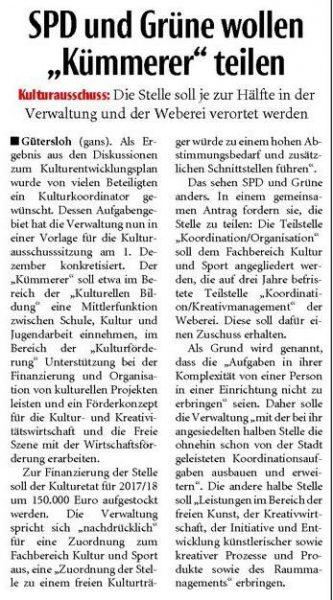 Neue Westfälische, 23.11.2016