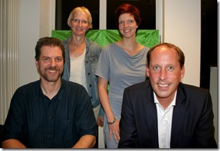 (v.l.n.r.: Thorsten Schmolke Kreisverbandssprecher, Birgit Niemann-Hollatz Fraktionssprecherin, Wibke Brems MdL, Stefan Engstfeld MdL)